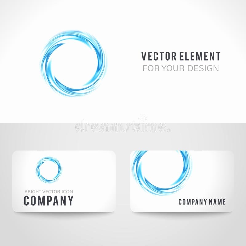 Circle Business Card Template Lovely Business Card Template Set Abstract Blue Circle Stock
