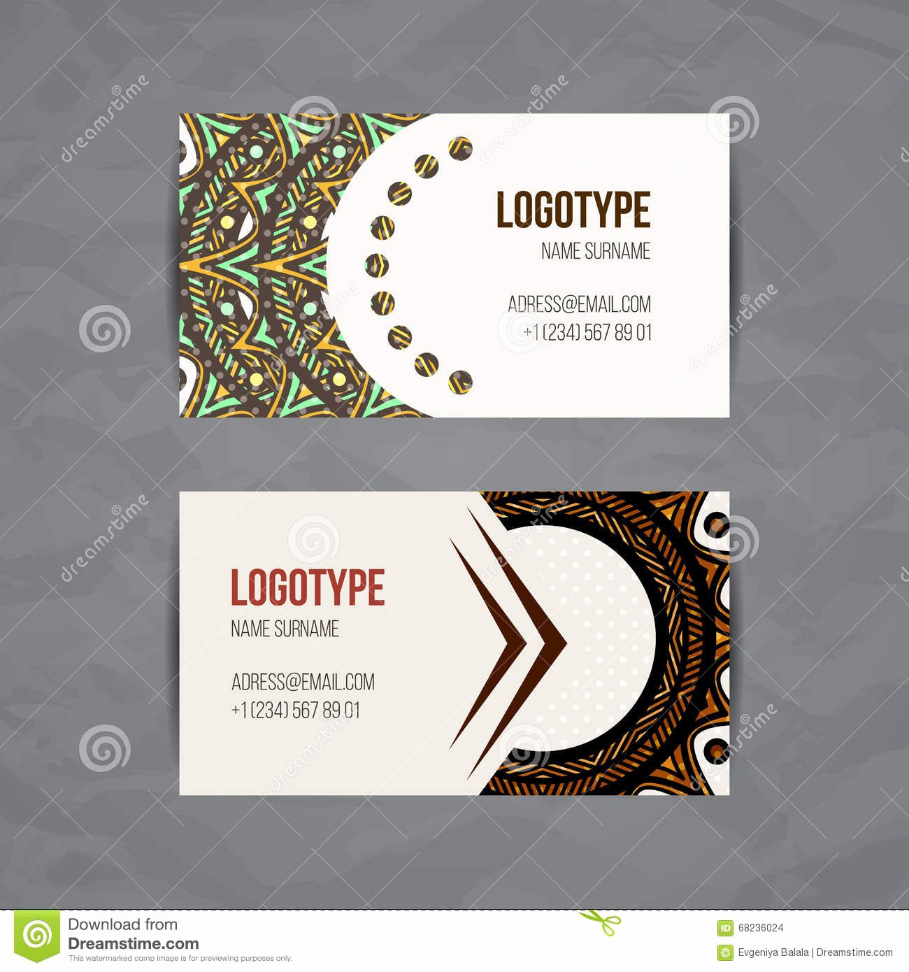 Circle Business Card Template Unique Set Vector Design Templates Business Card with Floral