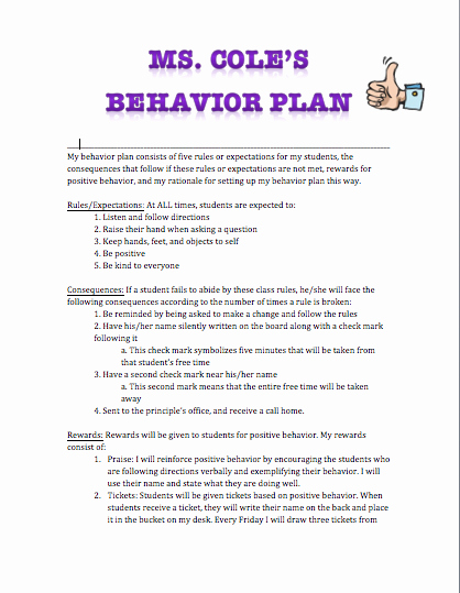 Classroom Management Plan Template Elementary Best Of H4