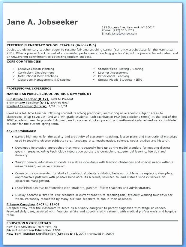 Classroom Management Plan Template Elementary Elegant Elementary Teacher Resume Sample Writing Tips Panion