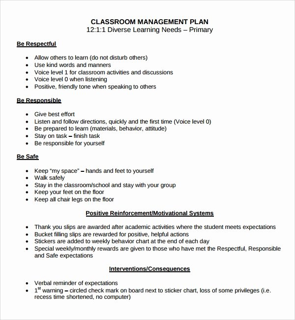 Classroom Management Plan Template Elementary Fresh Sample Classroom Management Plan Template 9 Free