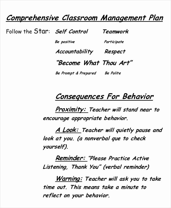 Classroom Management Plan Template Elementary Unique 10 Classroom Management Plan Templates Free Sample