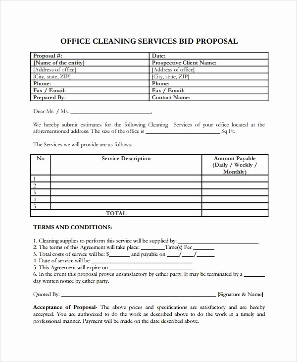 Cleaning Bid Proposal Template Fresh Service Proposal Template 14 Free Word Pdf Document