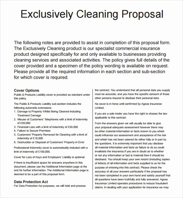 Cleaning Bid Proposal Template Inspirational 13 Cleaning Proposal Templates – Pdf Word Apple Pages