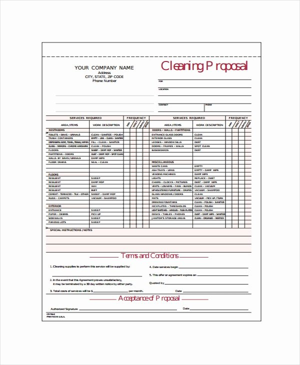 Cleaning Bid Proposal Template Inspirational 14 Cleaning Proposal Templates Word Pdf