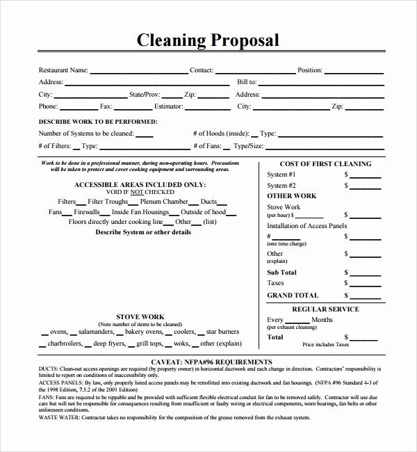 Cleaning Bid Proposal Template Lovely 13 Cleaning Proposal Templates – Pdf Word Apple Pages