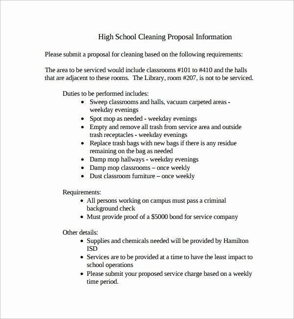 Cleaning Bid Proposal Template Lovely 15 Cleaning Proposal Templates Pdf Word