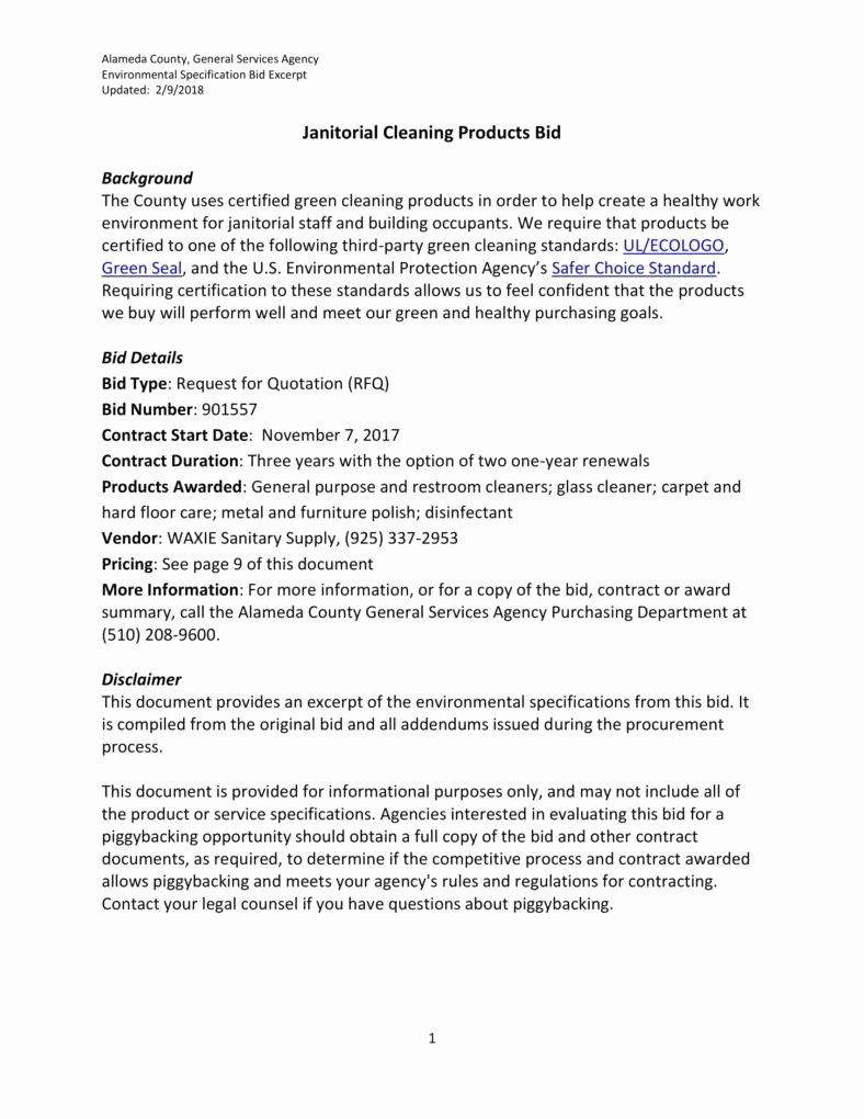 Cleaning Bid Proposal Template Lovely 7 Janitorial Services Proposal Templates Pdf