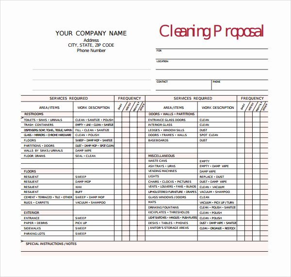 Cleaning Bid Proposal Template New Free Mercial Cleaning Bid forms Archives