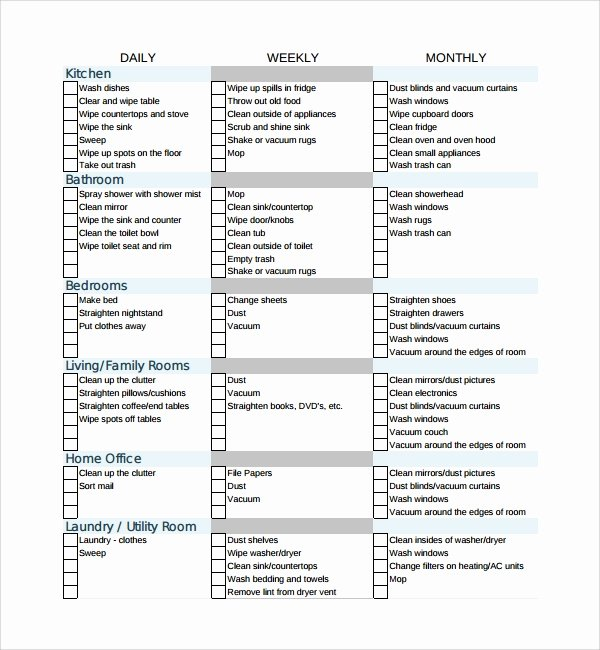 Cleaning Business Checklist Template Lovely 7 House Cleaning Checklist Templates – Pdf Doc