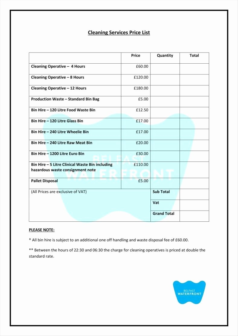 Cleaning Business Checklist Template Luxury 9 Service Price List Templates Free Samples Examples