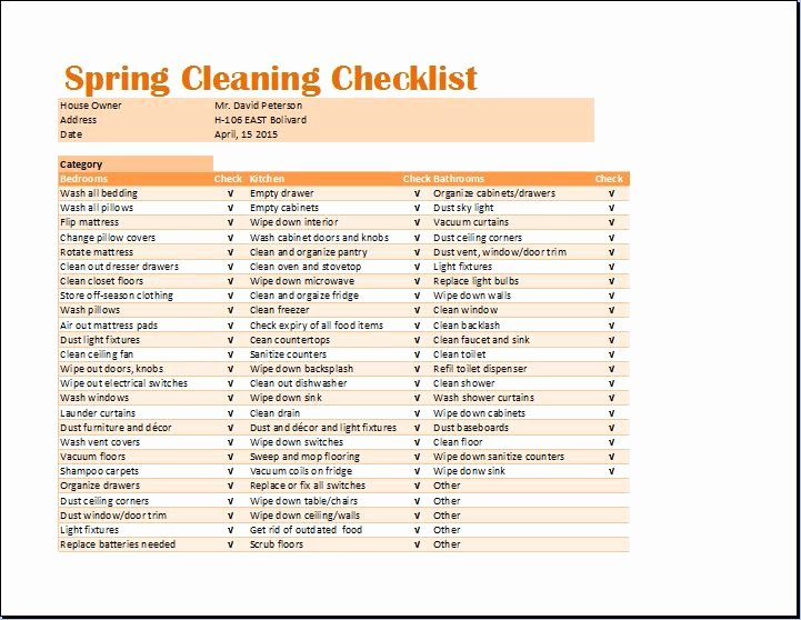 Cleaning Schedule Template Excel Awesome Ms Excel Spring Cleaning Checklist Template