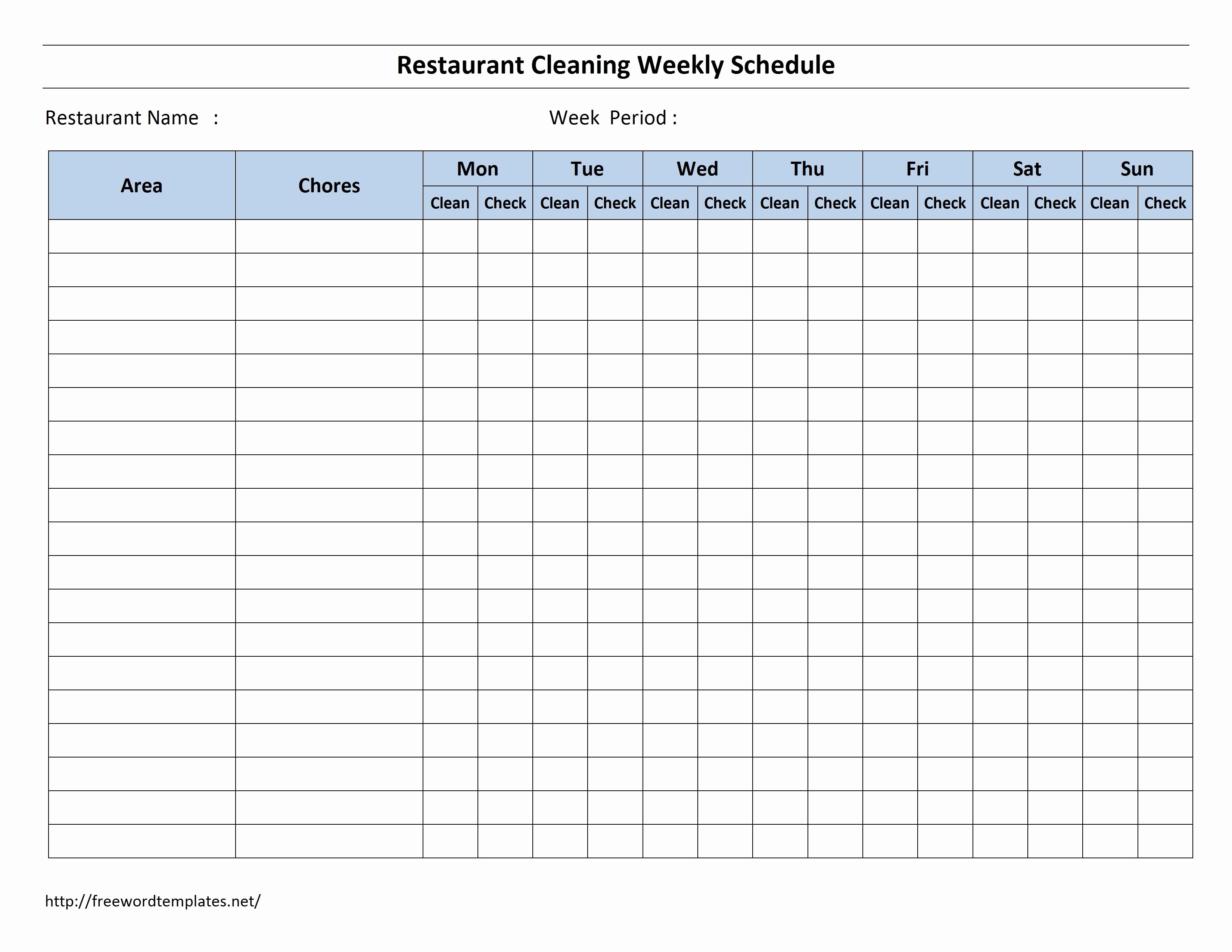 Cleaning Schedule Template Excel Unique Free Cleaning Schedule forms