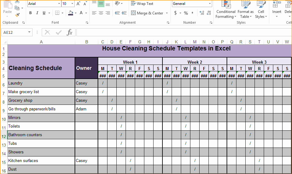 Cleaning Schedule Template for Restaurant Awesome Excel Cleaning Schedule Gagnatashort