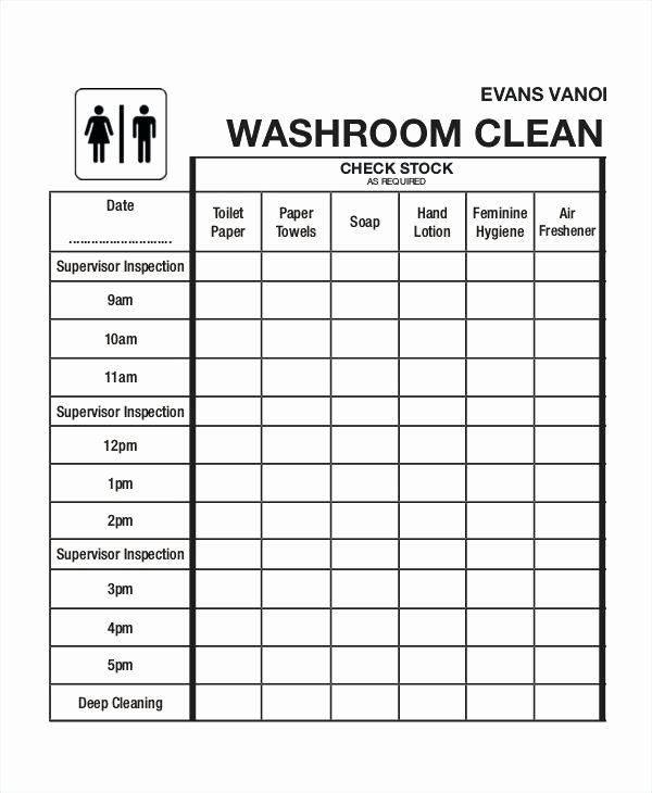 Cleaning Schedule Template for Restaurant Beautiful Cute toilet Cleaning Checklist Template Resume Free