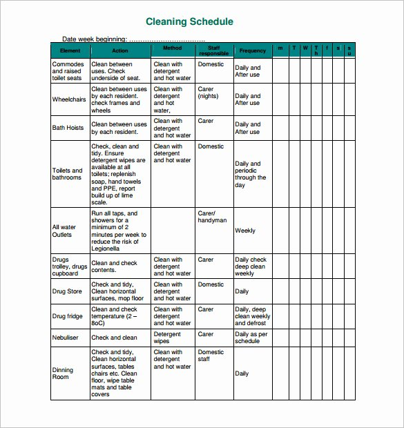 Cleaning Schedule Template for Restaurant Elegant 35 Cleaning Schedule Templates Pdf Doc Xls
