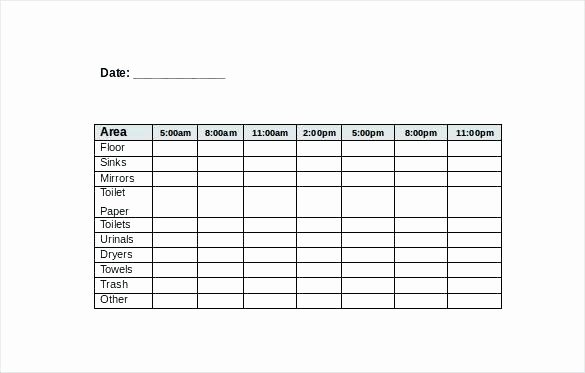 Cleaning Schedule Template for Restaurant Elegant Excel Checklist Template to Print format In Housekeeping