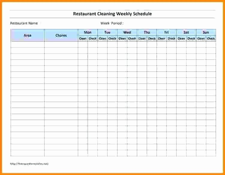 Cleaning Schedule Template for Restaurant Lovely Weekly Restaurant Cleaning Schedule Template Roster
