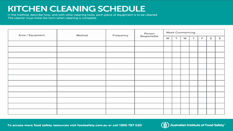 Cleaning Schedule Template for Restaurant Luxury Mercial Kitchen Cleaning Checklist Australia – Wow Blog