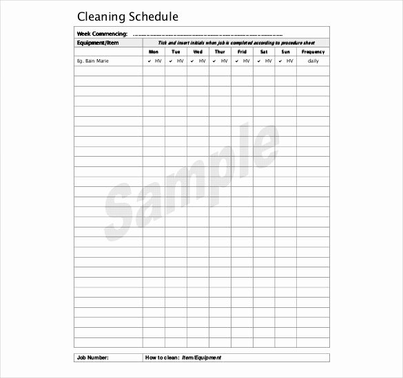 Cleaning Schedule Template for Restaurant Unique Kitchen Cleaning Schedule Template 20 Free Word Pdf