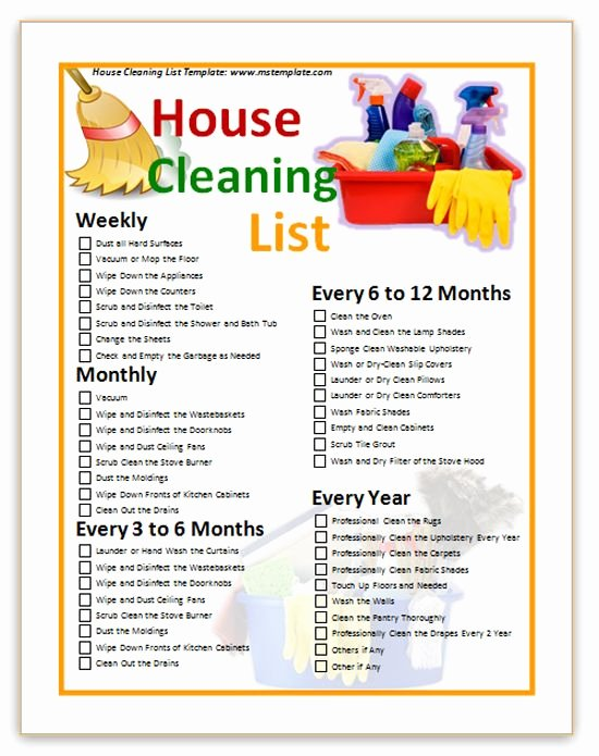 Cleaning Service Checklist Template Best Of House Cleaning Checklist Templates