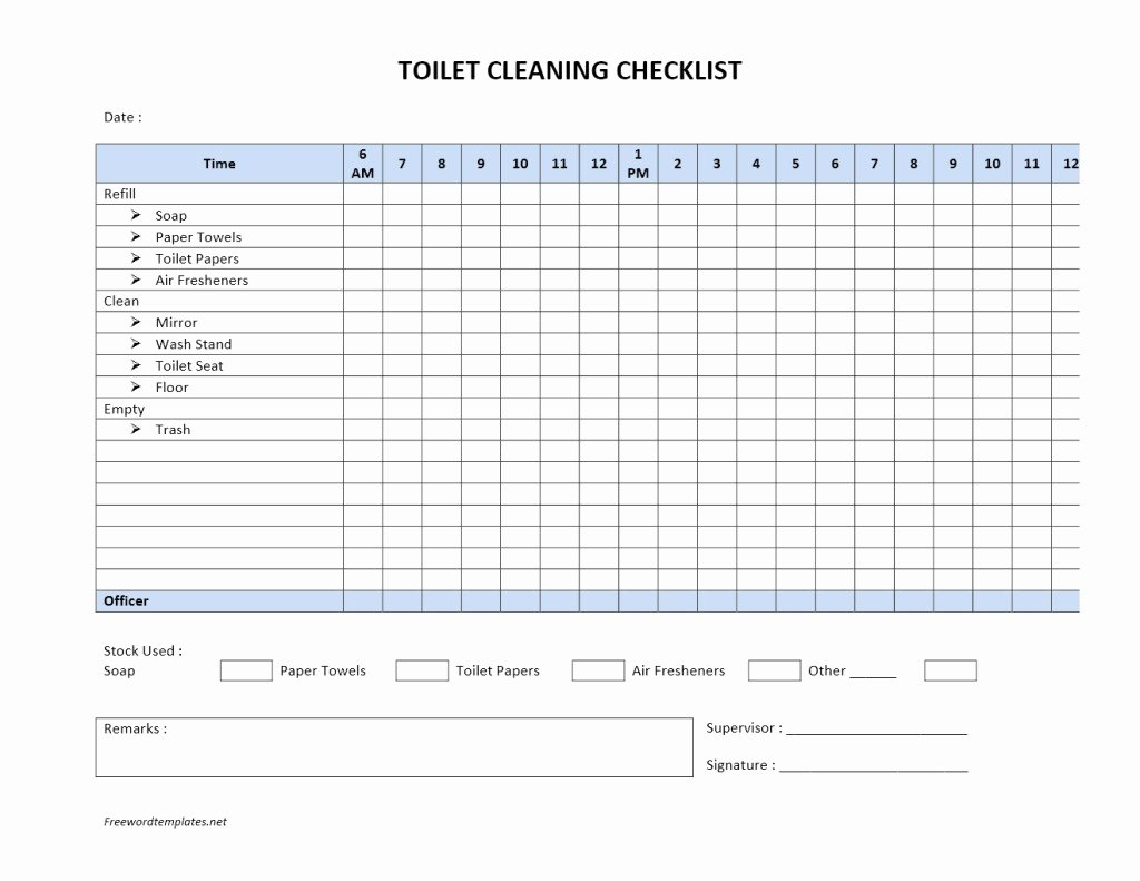 Cleaning Service Checklist Template Elegant toilet Cleaning Checklist