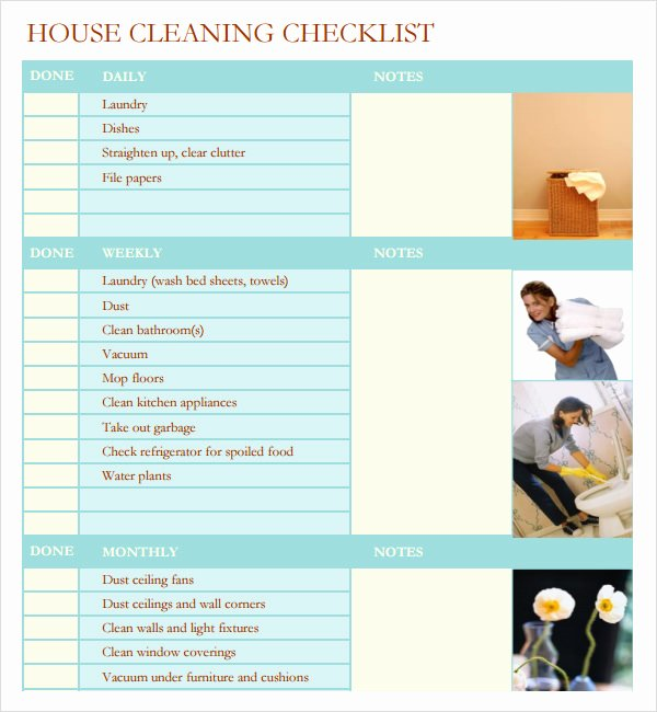 Cleaning Service Checklist Template Inspirational 7 House Cleaning Checklist Templates – Pdf Doc