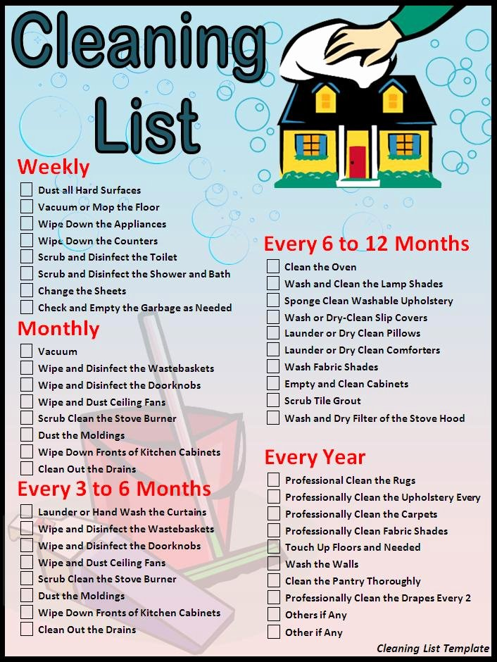 Cleaning Service Checklist Template New House Cleaning Free Sample House Cleaning Price List