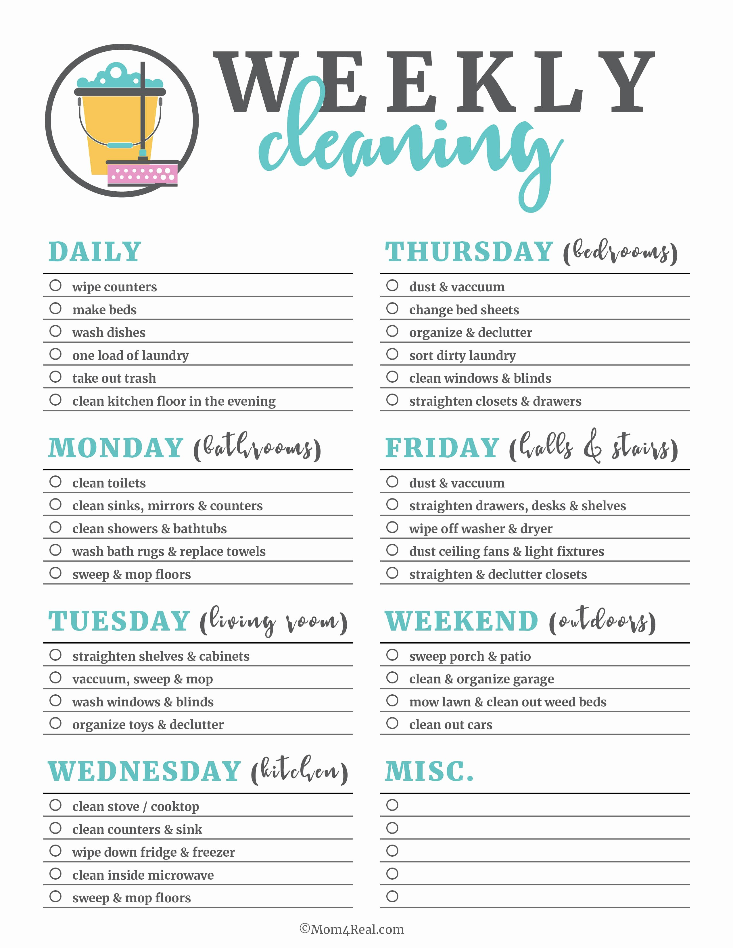 Cleaning Service Checklist Template Unique Printable Cleaning Checklists for Daily Weekly and