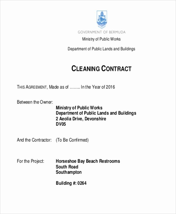 Cleaning Service Contract Template Awesome 15 Cleaning Contract Templates Docs Word