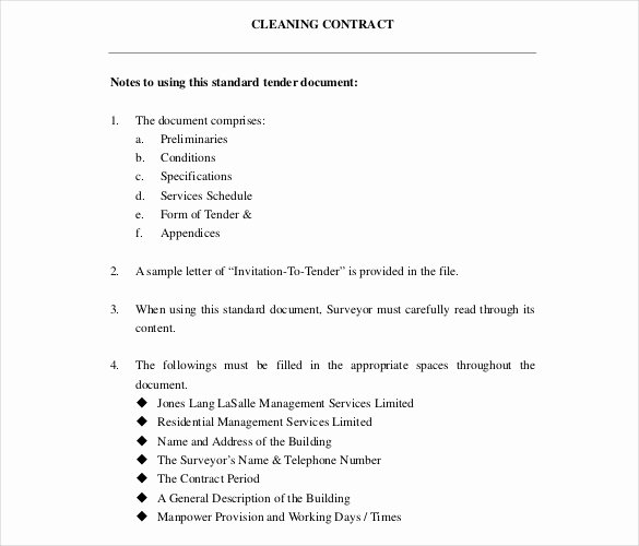 Cleaning Service Contract Template Awesome 22 Cleaning Contract Template Word Docs Pages