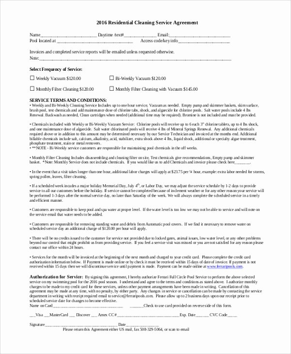 Cleaning Service Contract Template Beautiful 6 Sample Residential Service Contracts