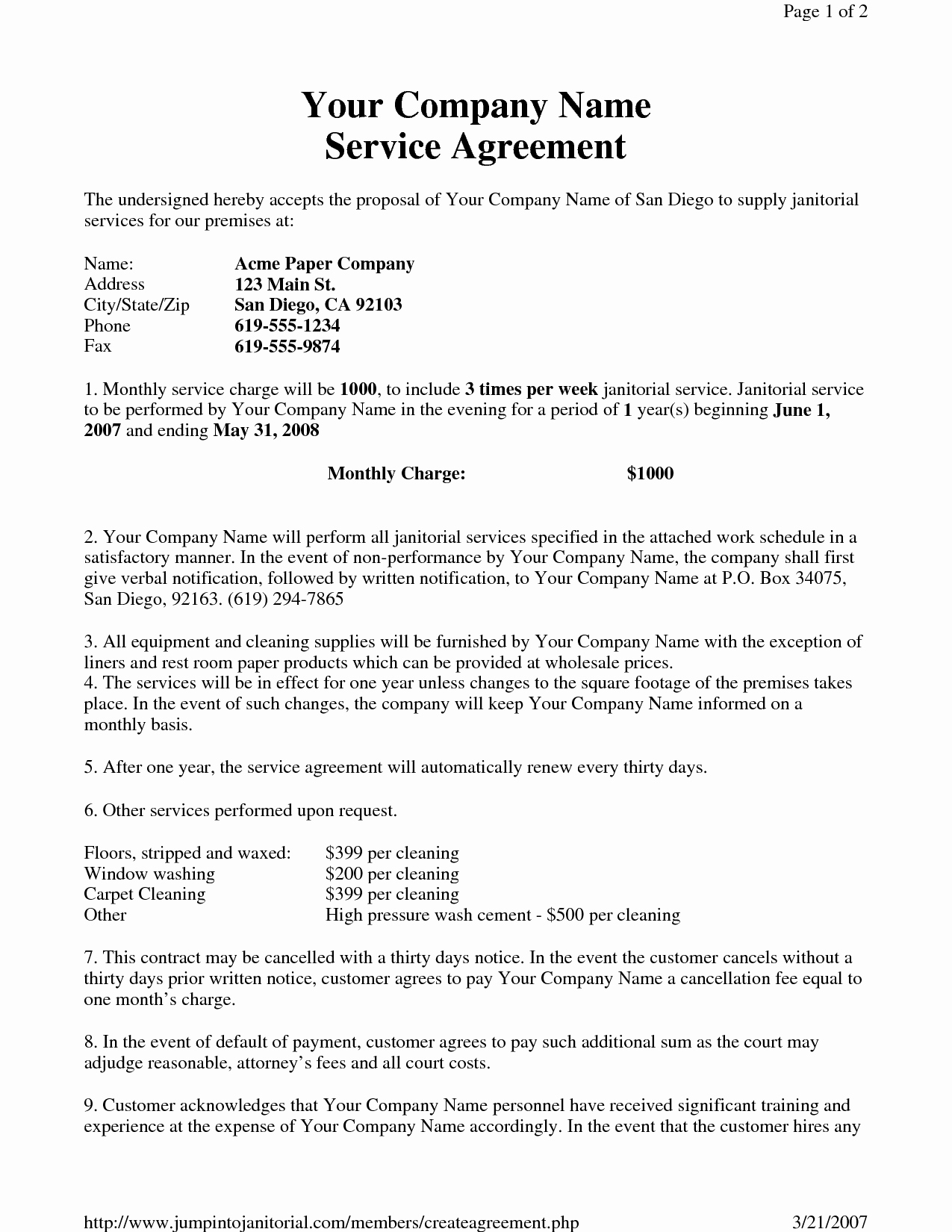 Cleaning Service Contract Template Inspirational 13 Best Of Cleaning Service Agreement Sample