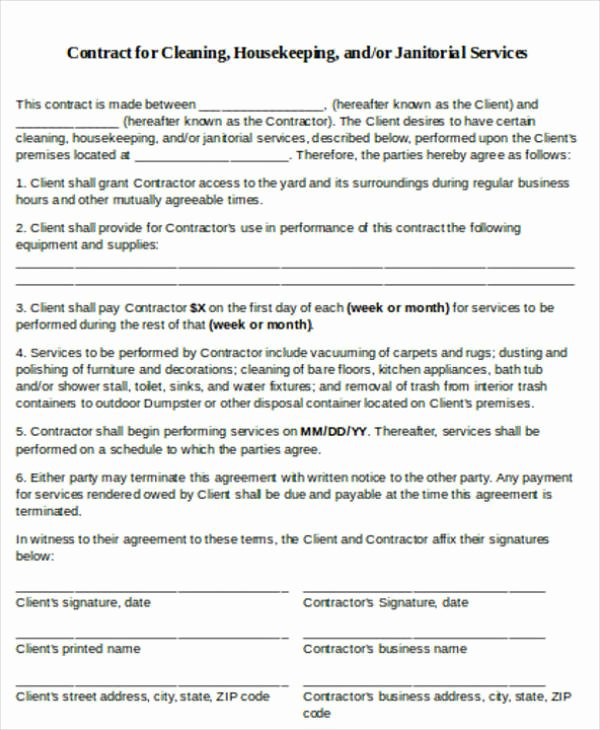 Cleaning Service Contract Template Unique 12 Printable Cleaning Service Contract Templates Pdf