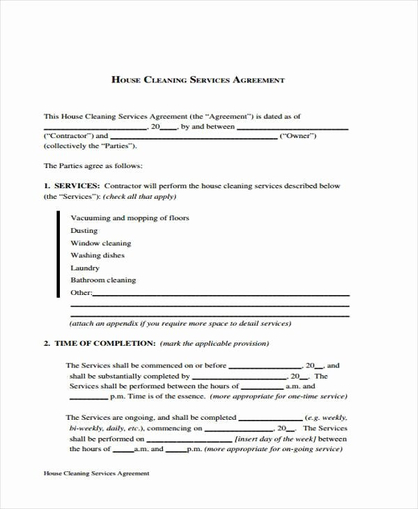 Cleaning Service Contract Template Unique Sample Cleaning Contract forms 7 Free Documents In Word