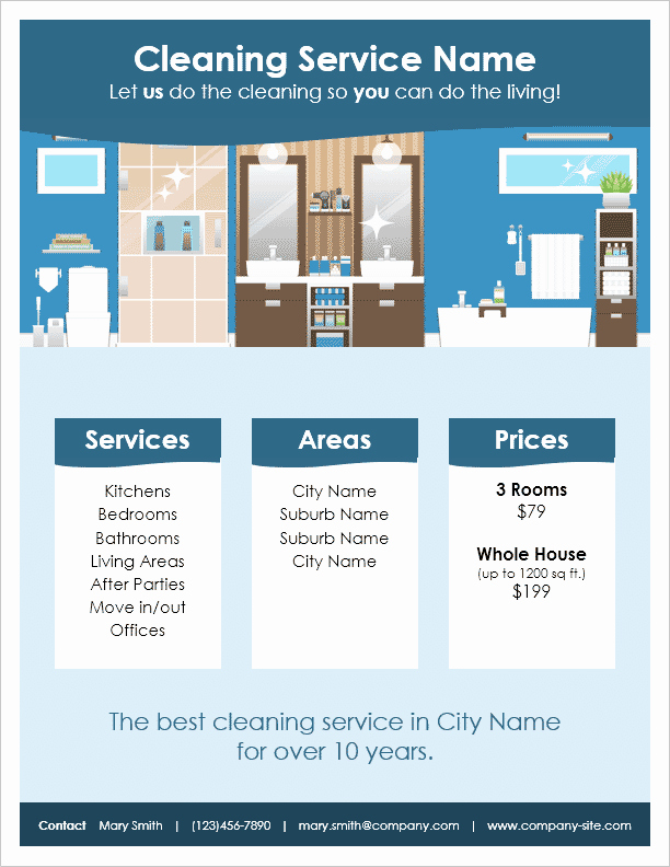 Cleaning Service Flyer Template Awesome Cleaning Service Flyer Template by Vertex42