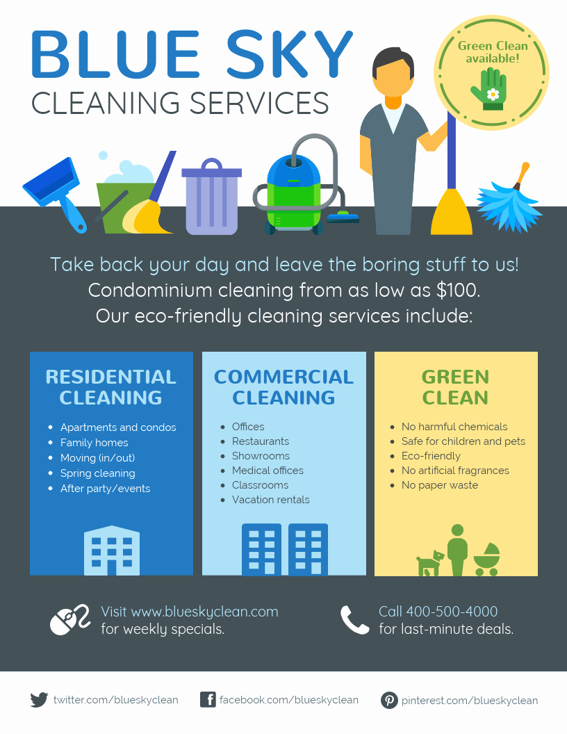 Cleaning Service Flyer Template Beautiful Cleaning Service Flyer Template Venngage