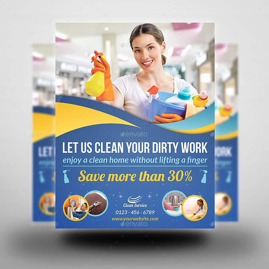 Cleaning Service Flyer Template Inspirational Cleaning Services Advertising Bundle Vol 2 by Ow
