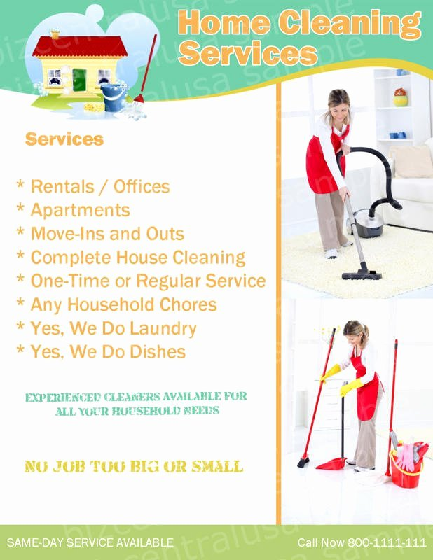 Cleaning Service Flyer Template Lovely House Cleaning Services Flyer Templates Yourweek