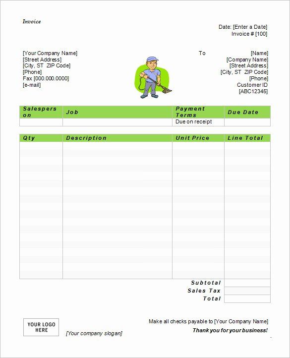 Cleaning Service Invoice Template Fresh 60 Microsoft Invoice Templates Pdf Doc Excel