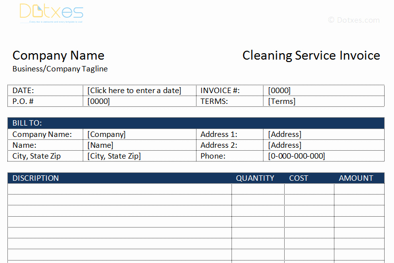 Cleaning Services Invoice Template Fresh Cleaning Service Invoice Template Dotxes
