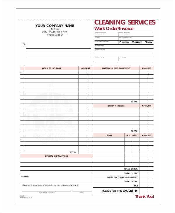 Cleaning Services Invoice Template Inspirational Cleaning Invoice Template 7 Free Word Pdf Documents