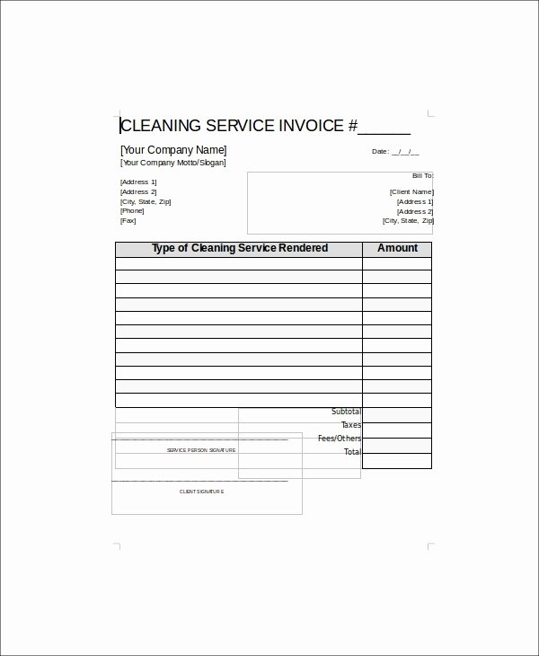 Cleaning Services Invoice Template Lovely 5 Sample Cleaning Service Receipts