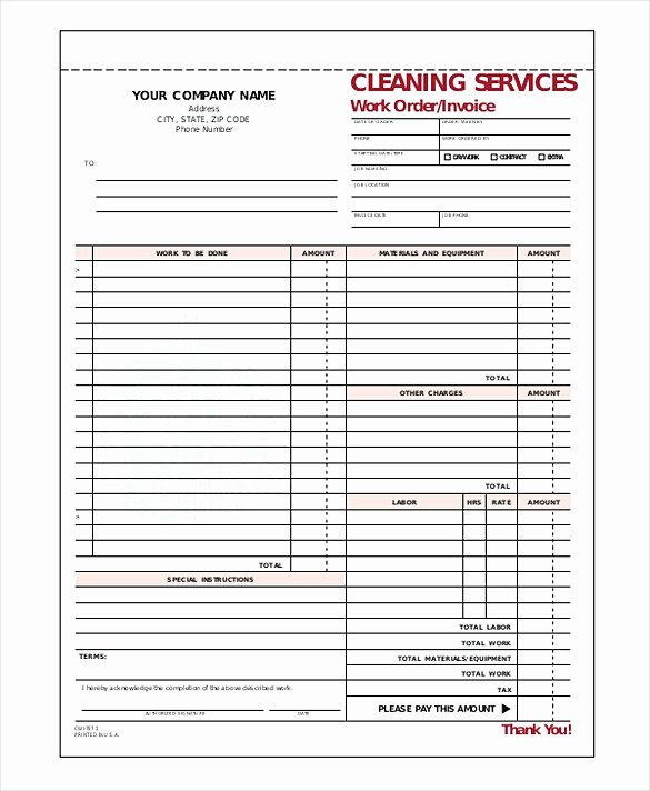 Cleaning Services Invoice Template New Cleaning Service Invoice