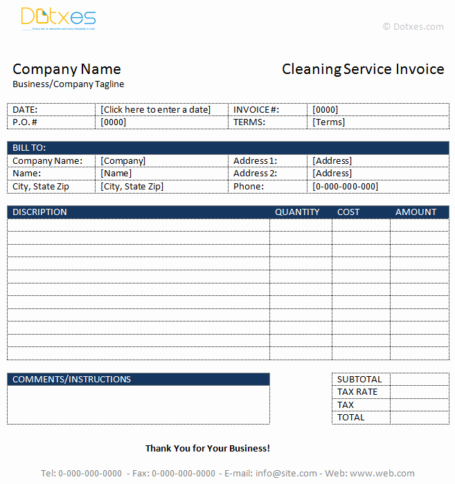 Cleaning Services Invoice Template New Cleaning Service Invoice Template Dotxes