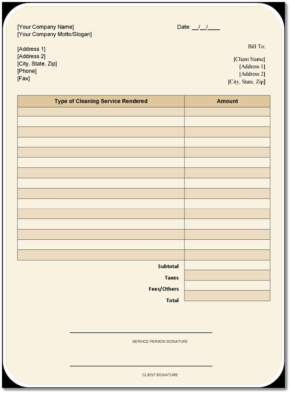 Cleaning Services Invoice Template New Cleaning Services Invoice Template – 6 Free Samples In