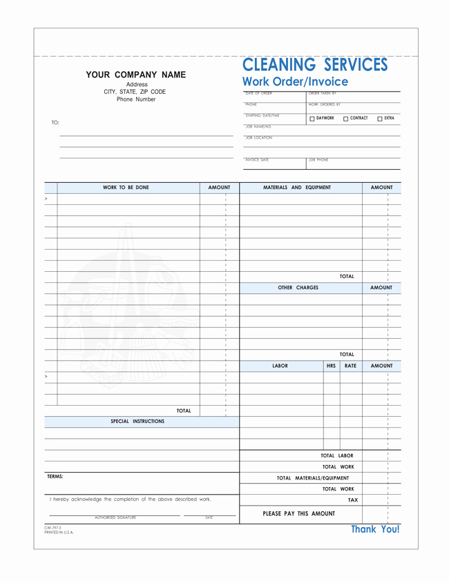 Cleaning Services Invoice Template New Free Printable Cleaning Service Invoice Templates 10