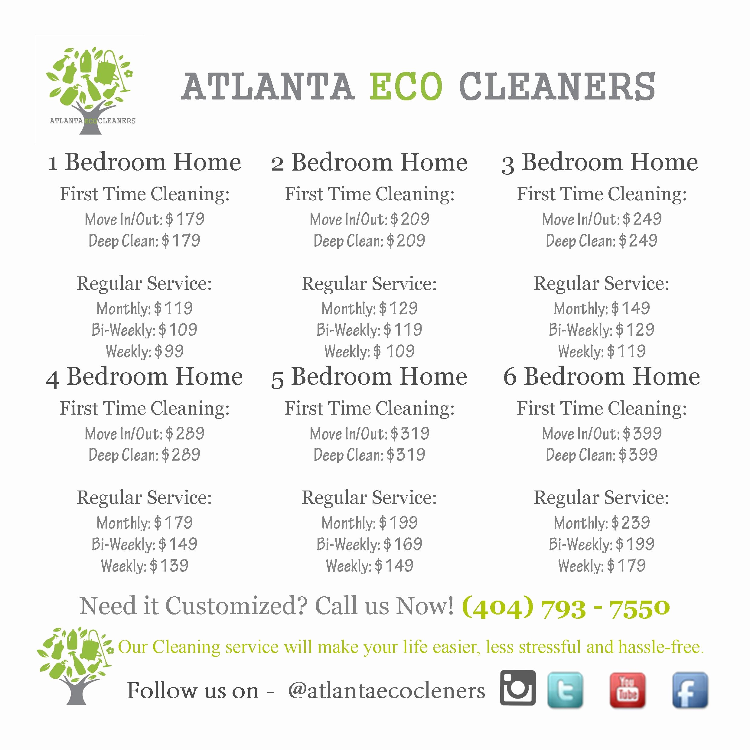 Cleaning Services Price List Template Elegant House Cleaning Prices atlanta Eco Cleaners Premier House
