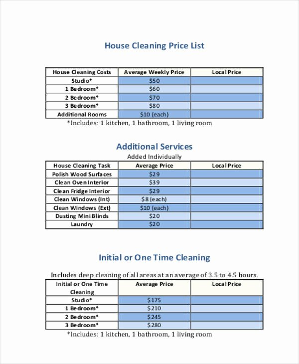 Cleaning Services Price List Template Fresh 20 Price List Samples In Pdf