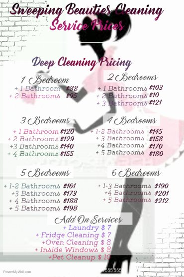 Cleaning Services Price List Template New Pricing – Sweeping Beauties Cleaning Service
